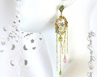 Enamel Flower Dangle Shoulder Duster Earrings pale greens lavenders pinks vintage