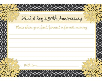"""Personalized 50th Anniversary Memory and Wishes Cards - DELUXE 5x7"""" SIZE - Love Blossoms - Customize for any anniversary - Anniversary Party"""