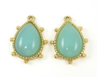 Aqua Teardrop Earring Finding, Gold Framed Beaded Edge Earring Dangles, Aqua Earring Drops  B5-16 2