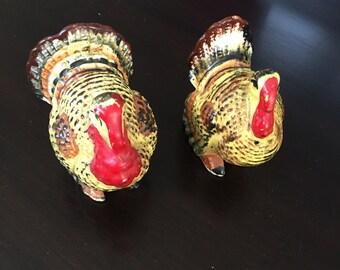 Vintage Turkey Ceramic Salt and Pepper Shakers - Thanksgiving  - Japan