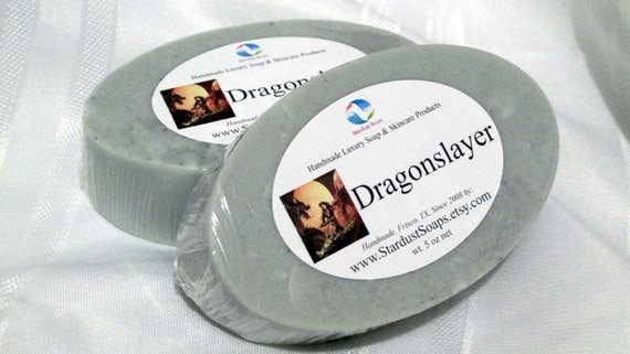 Dragonslayer Mens Bar Soap (Handmade, Natural Glycerin & coconut oil, Spice, Woods, Lavender and Citrus) Favorite of Men, Stardust Soaps