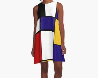 Mondrian Woman Dress, Dress for Woman, A Line Dress, Modern Dress, Girl Dress, Colorful Dress, Loose dress, Woman Dress, Gifts for her