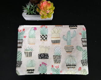 Cactus Cacti Succulent Plants Zipper Bag   Cosmetic Bag Travel Bag Medicine Bag Fabric Lined