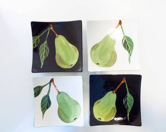 Plate Set of Four READY to SHIP Small Plates Appetizer Plates Serving Plates Pear Small Minimalist Ceramic Plate Wedding Gift for Couple P