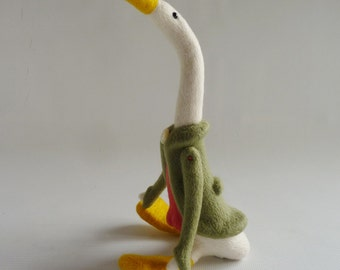 Needle felted goose, 'Sweet Cicely' OOAK needle felt by Gretel Parker
