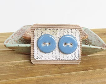 Round Stoneware Buttons in Oasis Blue Glaze, White Clay - Set of 2