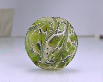 Etched Silvered Green Organic Lampwork Focal Bead