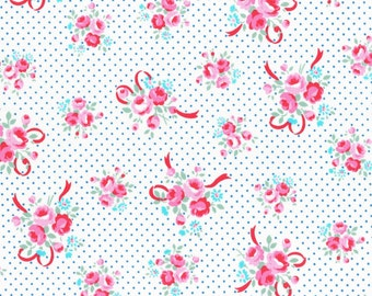 White and Turquoise Ribbon Bouquet 31378 70 Fabric by Lecien Flower Sugar Sweet Carnival