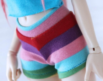 Limited Edition Doll BJD dolfie Minifee clothes Rainbow stripe Shorts by MonstroDesigns Ready to Ship