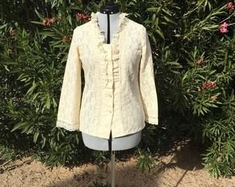 Vintage Lace Blazer Victorian Steampunk Ruffle Collar Lolita Cosplay Sz S
