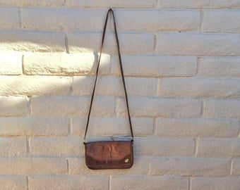 Vintage 80s Faux Brown Leather Crossbody Purse