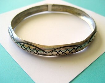 Sterling Silver Stamped Navajo Bangle