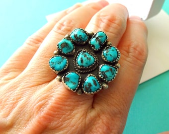 Navajo Kingman Turquoise and Sterling Cluster Ring Size 7.5