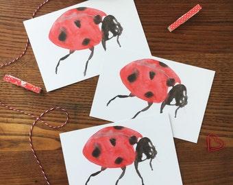 Ladybug Postcard. Watercolor Ladybug Card. Ladybug Art. Ladybird Card. Set of 3 Cards. Ladybug Painting. Postcard Set. Insect Card.