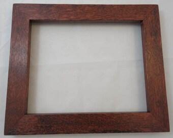 8x10 Quarter Sawn Oak with Reddish Brown Dye Picture Frame