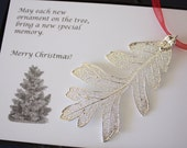 Silver Oak Leaf Ornament, Real Lacey Oak Leaf, Extra Large, Ornament Gift, Christmas Card, Happy Holiday Gift, First Christmas, ORNA71