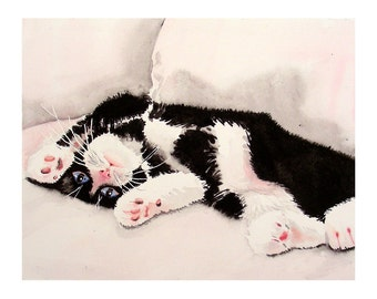 CUSTOM ORDER for Dianne, Greeting Blank Card, Tuxedo cat, Title: Kicking off the Pillows, Watercolor note, cat painting 7 x 5 A7