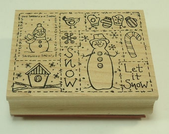 Snow Collage Winter Snowmen, Snowflakes, Mittens, Christmas, and Candy Cane Wood Mounted Rubber Stamp By Great Impressions