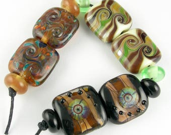 Handmade Lampwork Glass Bead Set Loose Beads Earring Pairs SRA Variety Sets in Earthy Neutrals