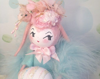 Lop ear bunny doll easter tree topper pink and blue spring decor art doll easter bunny vintage retro inspired easter doll pink rabbit