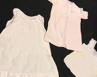 Set of 3 Antique/Vintage Pink and White Flannel Baby Gowns and Robe