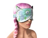 Sleep Mask with Cat Ears Vintage Floral Fabric