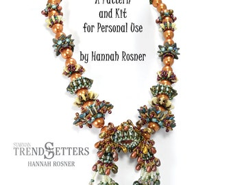 Just Released - Beading Kit Coral Gardens Beaded Necklace peyote stitch & RAW pattern instructions tutorial DIY by Hannah Rosner