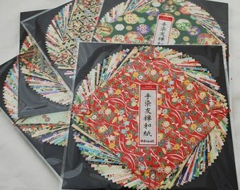 Japanese Yuzen Washi Origami Paper Pack - 30 Yuzen Sheets Assortment - All 30 sheets are Yuzen Paper - 15cm x 15cm