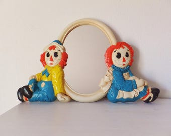 Raggedy Ann and Andy Mirror Vintage 1970's 1980's Children's Bedroom Vintage Baby Room Raggedy Andy Toy Plastic Children's Mirror Ann Decor
