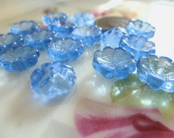 10 Vintage Czech Transparent Blue Cupped 10.5mm Flower Glass Beads C37