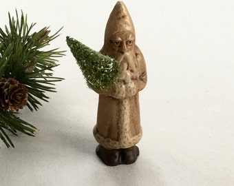 Chalkware Santa Belsnickle Handpainted from Chocolate Mold