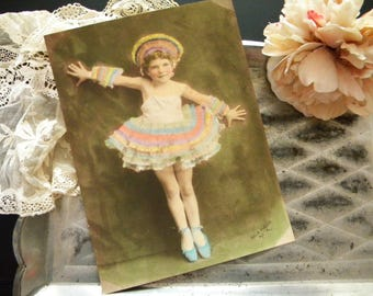 Vintage 9 x 7 Hand Tinted Photo of Child in Ballet Costume 1920's Dance Outfit