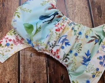 One Size Pocket Cloth Diaper Springtime Songbirds 15-40 lbs Limited Edition