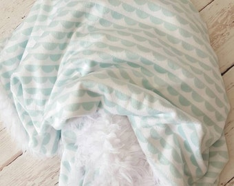 NEW! Mint Scallop Minky Cuddle Blanket-small on the Go-baby gift,gender neutral
