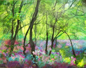 Wild flowers,16x20 inches, Wild spring Phlox #spring landscapes #spring flowers #green art #nature art #Original art #Flower art #Signore