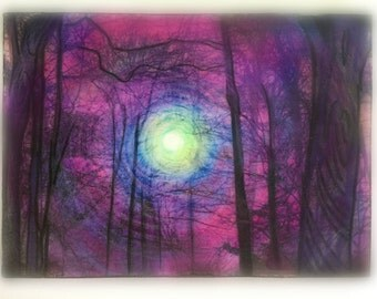 Aceo original, Winter sunrise, 2.50x3.50, tree art, unique office gift, Thank you gift, desk decor, rustic decor, #trees, #aceo original art