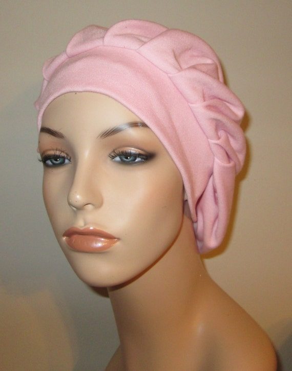 Womens Pink  Pleated Snood, Hijab, Hair Loss, Chef Hat