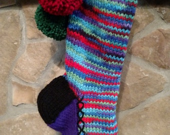 Old Fashioned Hand knit Christmas Stocking Purple Red Blue Green Heartfelt Fir Tree detail