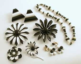 Vintage Enamel Flower Brooch Black White Jewelry Lot Earrings Necklace
