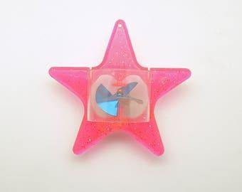 Vintage Christmas Ornament Pink Star Twinkler Spinner Twirler MCM