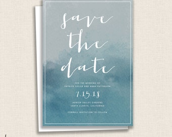DEEP BLUE - DIY Printable Save the Date - Invitation - Ombre - Ocean Blues - Wedding - Watercolor Painted Calligraphy
