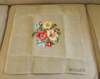 Needlepoint Tapestry Canvas Pillow Wallhanging Ready to Finish 16.5 x 18 inches Wool Yarn Floral