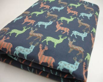 Meadow Deer Navy in Multi Minky Baby Security Blanket 26 x 35 READY TO SHIP On Sale