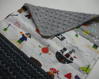 Treasure Map Pirate Ships Lovey or Minky Receiving Blanket 13 x 22 READY TO SHIP Clearance Sale