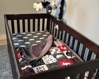 Mountaineer 3 Piece Baby Crib Bedding Set MADE TO ORDER Free Shipping