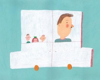 Family car     Original Illustration , home decor, wall decor, wall art, nursery gifts