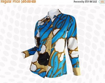 Vintage Floral Shirt | Pop Nouveau Field Yves Vacarisas Signed Designer Disco Abstract Psychedelic Floral Graphic Print Blue Tan Blouse Top