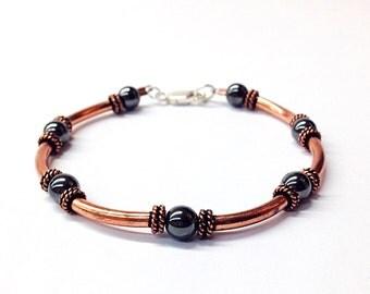 Mens copper bracelet - husband gift - copper jewelry- 7th anniversary-11th anniversary-hematite beaded bracelet-mens jewelry-unisex bracelet
