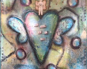 Mixed Media Canvas Charlotte on winged heart