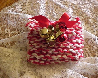 HANDKNIT POUCH/BAG~Filled with Christmas Candy~Adourned with Bells~Perfect Stocking Stuffer~Small Gift for Office Party~Hair Dresser & More